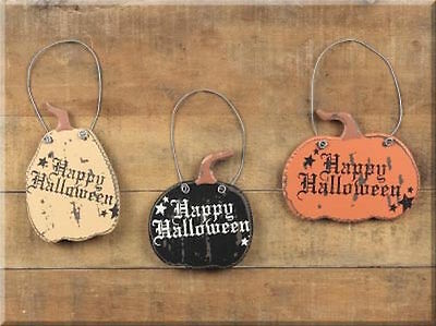 Lot of 3 Pumpkin Wood Ornies Hanging Signs NWT Happy Halloween Primitive