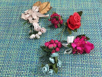Lot Of 7  Vintage Silk Fabric Flower Picks Corsage Or Millinery Flowers Crafts