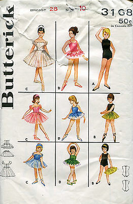 Butterick 3168 GIRLS' 10 Classic Ballet Leotard PETAL TU TU Dance Boned pattern