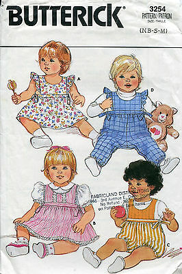 BUTTERICK 3254 Vintage Newborn -M 22lb Dress Jumper & Romper Pattern SIDE TIES