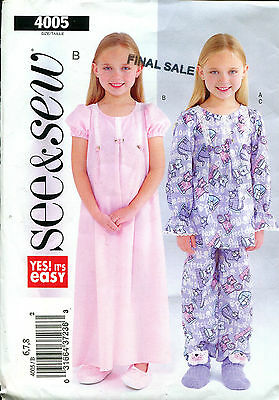 SEE & SEW 4005 Girls' Size 6 7 8 Pajamas & Nightgown CUTE FRONT TUCKS Uncut FF