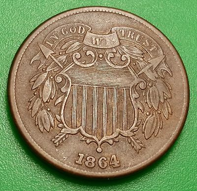 1864 VF-XF U.S. Two Cent Piece High Grade 2 Penny US Antique USA Currency Money