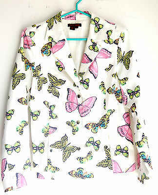 Stunning Simon Chang Blazer  With Multi Color Butterfly Pattern  Size : 8