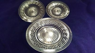Vintage Collection Of 6 Heisey  Greek Key Pattern Dishes And Plates