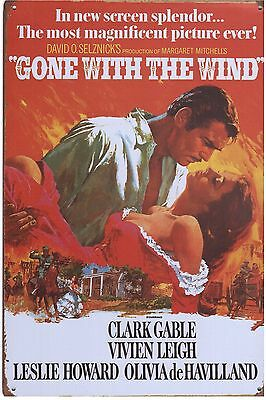 Metal Sign, Movie Poster, Gone With The Wind, Clark Gable, Vivien Leigh