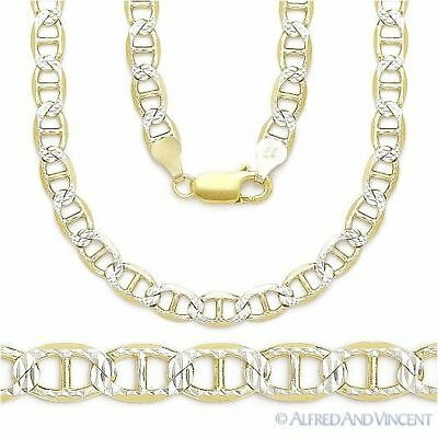 Sterling Silver 14k Yellow Gold Marina Mariner Link 5.3mm Italian Chain Necklace