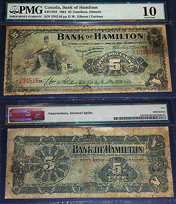 Bank Of Hamilton  1904 $5  ,PMG 10  (18 known)