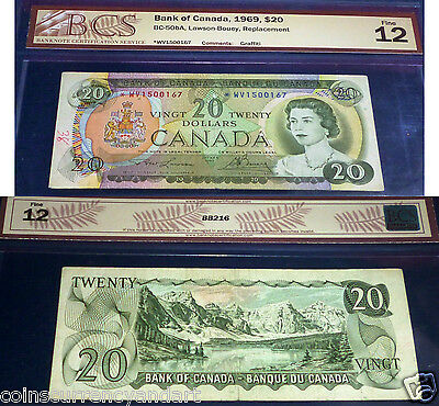 ASTERISK REPLACEMENT *WV  Bank Of Canada 1969  $20 BCS   F12