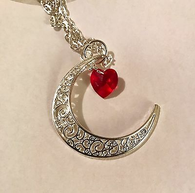 "Crescent Moon With Swarovski Elements Red Heart Pagan 18"" Necklace - Organza bag"