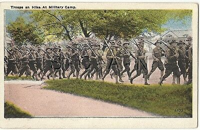 WWI Era Original Vintage Army Color PC- Troops on Hike at Camp- Rifle- Uniform