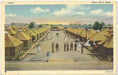 WWII Original Vintage Army PC- Army Life in Tents- Tent City- Lister Bag- 1940s