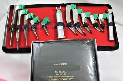 Set Of 10 German Fiber Optic Mac & Miller Laryngoscope Blade+2 Handle Intubaton