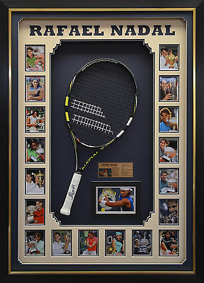 Rafael Nadal Signed Tennis Racket with Photos Box Framed + COA