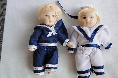 Vintage miniature young girl and boy seafaring clothes  porcelain