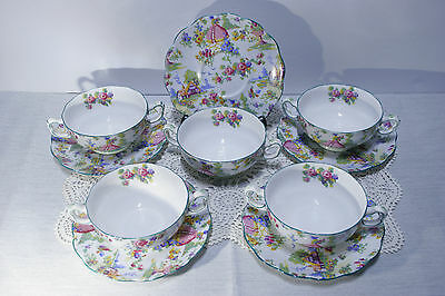 LOT of 5 SETS! Royal Albert LADY GAY Cream Soup BOWLS w/ Underplates. ALL MINT!!