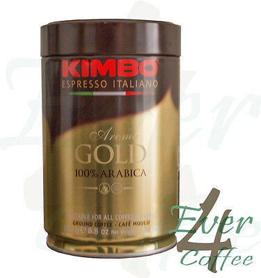 250g Tin of Kimbo Espresso Italian Gold 100% Arabica Coffee Ground