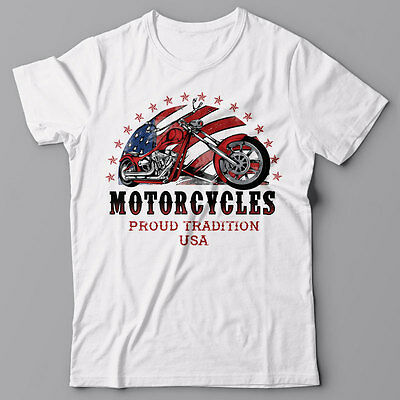 Mens T-shirt graphic tee MOTORCYCLES proud tradition, chopper USA American bike