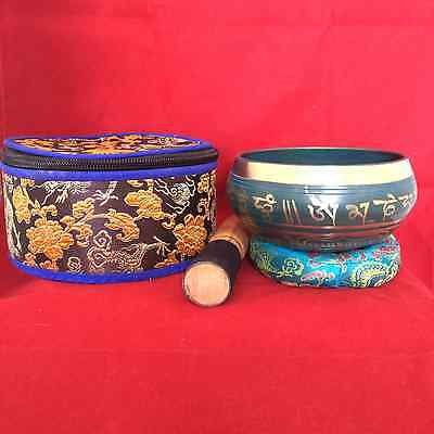 Buddhist Mantra Blue Coloured Meditation Singing Bowl in Gift Box - Audio Sound