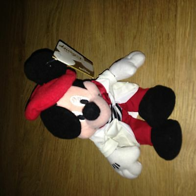 Disney UK Mickey Mouse Globe Trotting  French Bean Bag Beanie 1993 Mint  tag