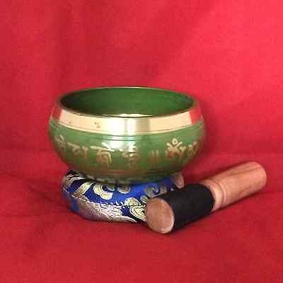 Buddhist Mantra and Auspicious Sign Meditation Singing Bowl - Green - 016