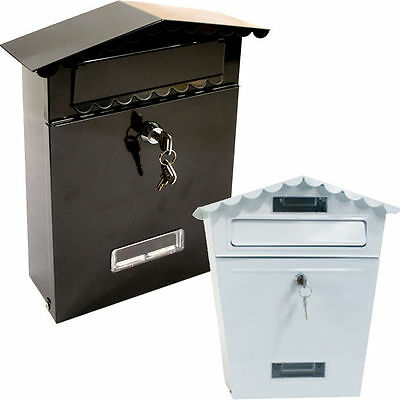 Black White Letter Post Mail Mailing Box Postage Metal Steel Letter Box Lockable