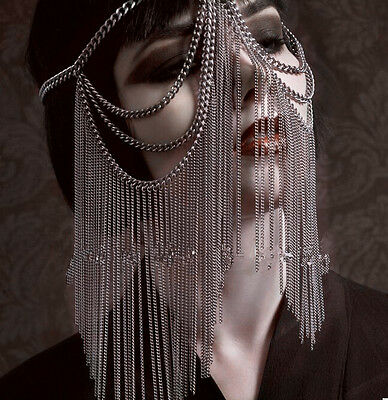 Silver Tone Heavy Face Mask Head Tassel Metal Chain Role Play Cosplay Uk Seller