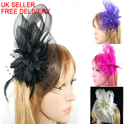 Beaded Feather Hair Fascinator Bunny Hair Clip Headband Mess Wedding Royal Races