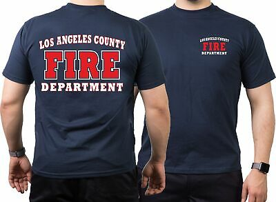 T-Shirt navy, Los Angeles County Fire Department in weiss/rot