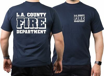 T-Shirt navy, L.A. County Fire Department in weiss