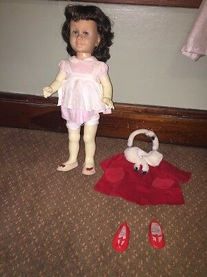 Vintage 1960s Mattel Chatty Cathy Doll Brunette, Soft Face, Blue Eyes + Clothes
