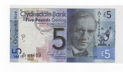 Clydesdale Bank £5 Replacement Banknote Prefix E/zz 106489 August 2009
