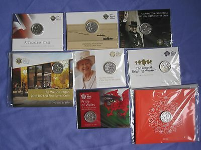 £20 Silver Coins - First 8 Royal Mint issues in original packaging