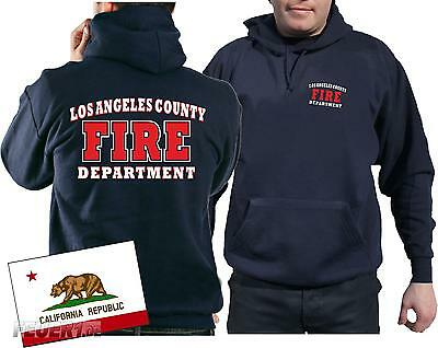 Kapuzensweat navy, Los Angeles County Fire Department in weiss/rot