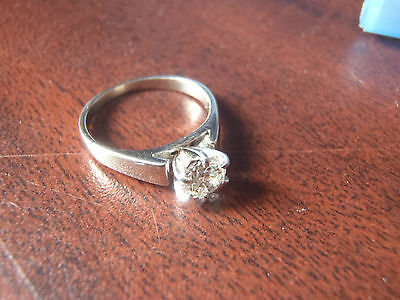 diamond solitaire 14k white gold ring 3/4 karat size 5 canadian