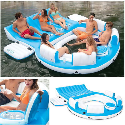 Inflatable Floating Island Pool Lake Water Party Giant Big Raft Lounge 6 Person