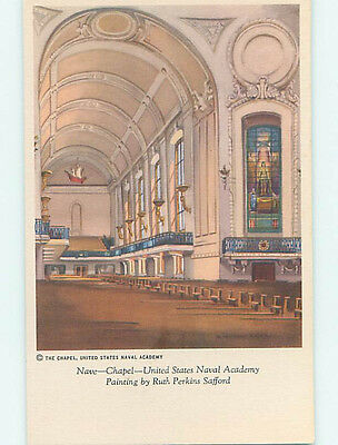 Unused Linen NAVAL ACADEMY CHURCH SCENE Annapolis Maryland MD L4444