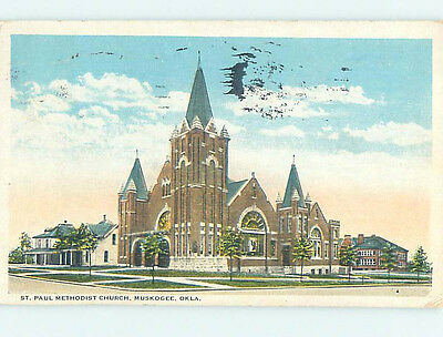 Damaged W-Border CHURCH SCENE Muskogee Oklahoma OK hs7791