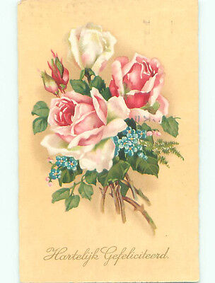 Pre-Chrome foreign BEAUTIFUL PINK AND WHITE ROSE FLOWERS J4490