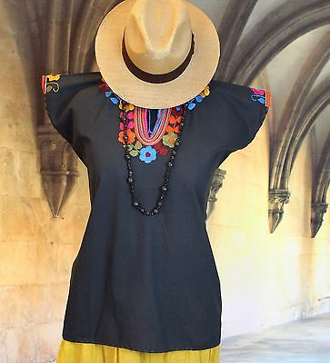 Black & Multi Color, Hand Embroidered Mayan Huipil, Chiapas Mexico, Hippie, Boho