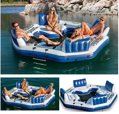 Inflatable Floating Island Pool Lake Water Party Giant Raft Lounge 4 Person NEW