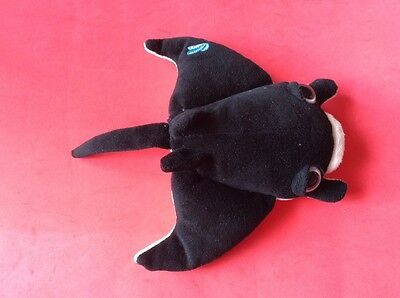 "Soft Toy. SEAPALS. MANTA RAY   RUSS.  8.5"" x 7"" Finger Puppet. Black and White"