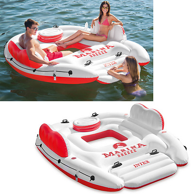 Inflatable Floating Island Pool Lake Water Party Giant Lounge Raft 4 Person NEW