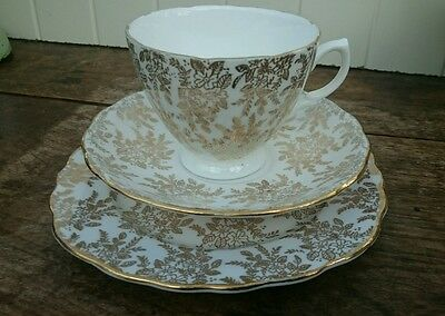 Vintage ROYAL VALE GOLD FILIGREE CHINTZ Trio - Cup, Saucer & Sideplate.