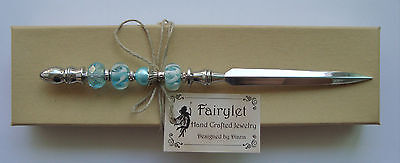 "Letter Opener Chrome Plated Silver Jeweled Turquoise Lamwork W/ Pearl 7"" NEW!"