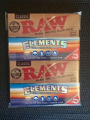 4 Pack Genuine Raw Classic & Elements Rolling Papers *mixed* (1 1/4 Size)