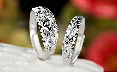 925 Sterling Silver Plated Sparkly Stars Stackable Finger & Toe Ring R33