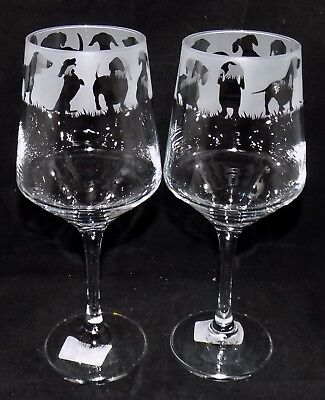 "New Etched ""DACHSHUND"" Quality Wine Glass - Large 390mls Glass - Free Gift Box"