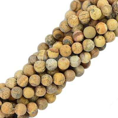 8mm Cabochon Matte Picture Jasper Gemstone Loose Beads 15''