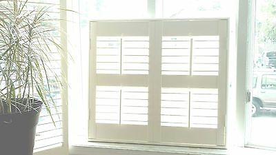 "Interior Solid Wood Plantation Shutters 2.5"" Louvers W/frame  White Linen I1"