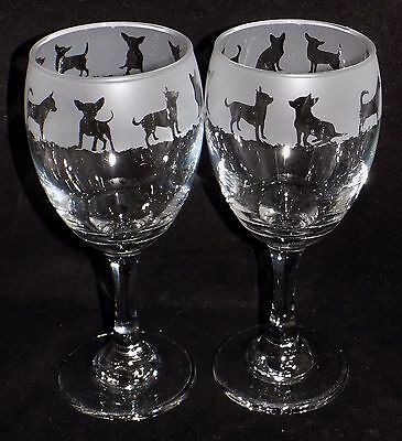"""New Etched """"Chihuahua"""" Dog Wine Glasses- Choose 1 or 2 & Optional Gift Box"""
